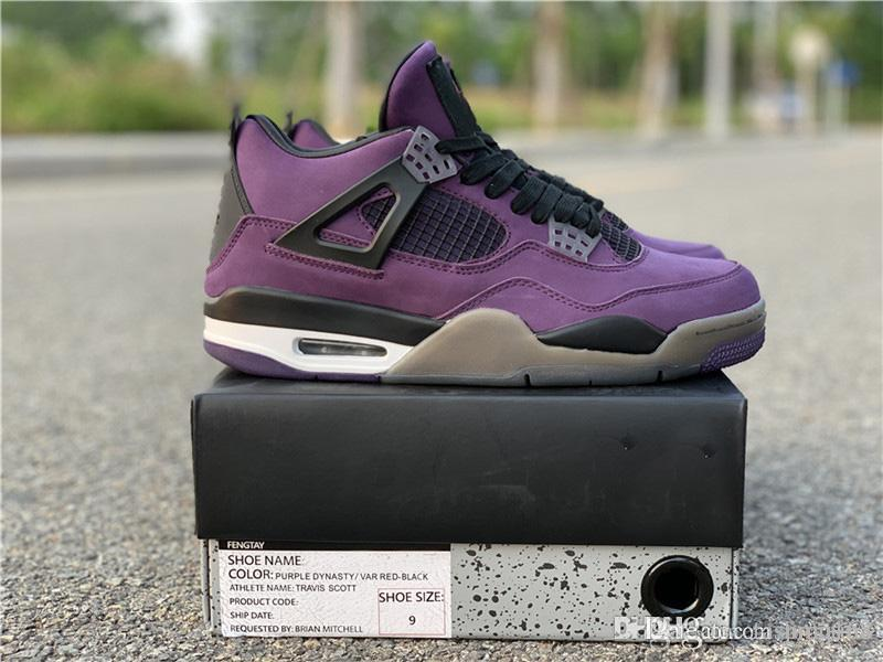 new products fa87f 6ef8b 2018 Hot Release Authentic Travis Scott x 4S IV Cactus Jack Men Basketball  Shoes Purple Suede Sports Sneakers With Box 308497-510