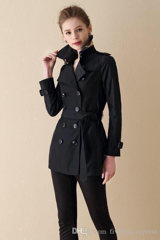 Oferecer Inglaterra Mulheres Moda Sólidos reves Belted Collar Vire-down Double Breasted Longo Trench Magro Londres Brit Vento jaquetas pretas
