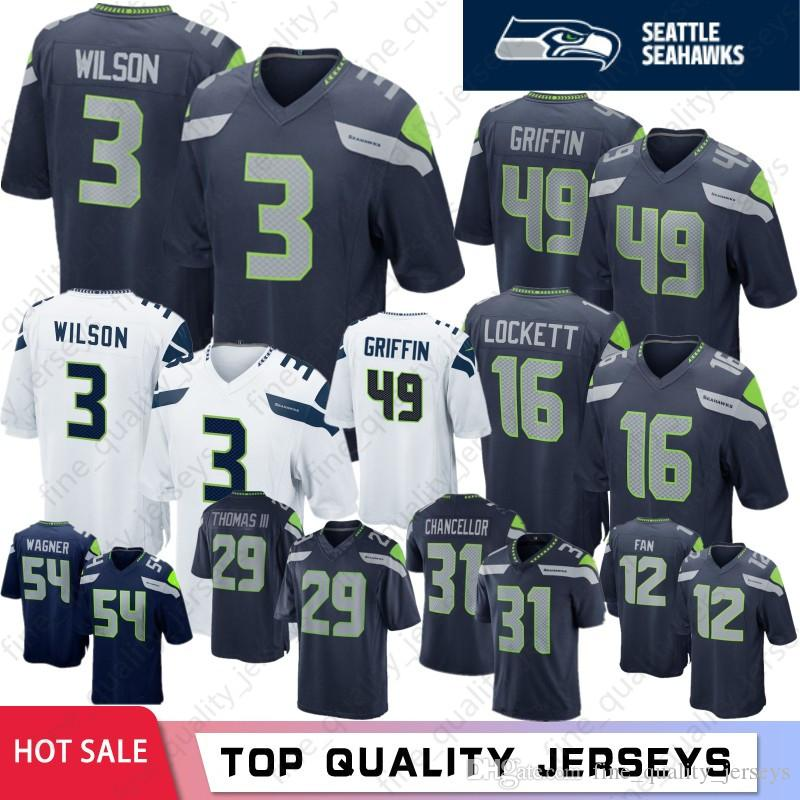 newest 7a2f9 ec157 3 Russell Wilson Jerseys de Seattle Seahawks 49 Shaquem Griffin 12 ° Fan 20  Rashaad Penny 31 Canciller 25 Sherman 16 Lockett 29 Thomas