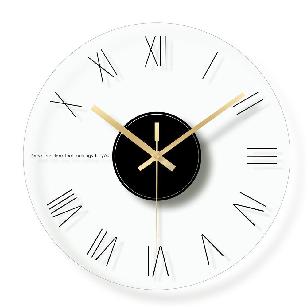Glass Digital Wall Clock Modern Design Decorative Clocks Living Room Mute  Quartz Simple Hanging Clock Roman Number Home Decor