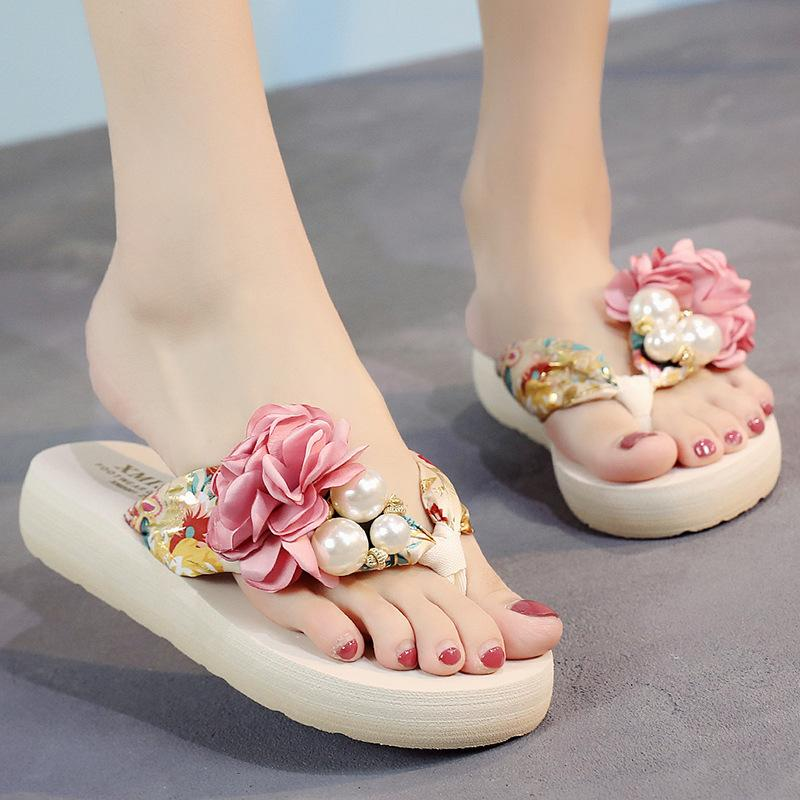 e9941377b33f Best Selling Women S Bohemian Slippers Thick Sole Beach Shoes Pink Cuffs Flip  Flops Sandals Wedges Flowers Comfortable Slippers Childrens Wool Slippers  ...