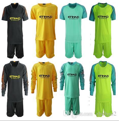 2e7a127de 2019 2018 19 Soccer Jerseys Goalkeeper Kit Kids  1 C.BRAVO EDERSON  31  Goalie Uniform City Football KUN AGUERO Long Sleeve Children Soccer Kit  From Zhuhao2