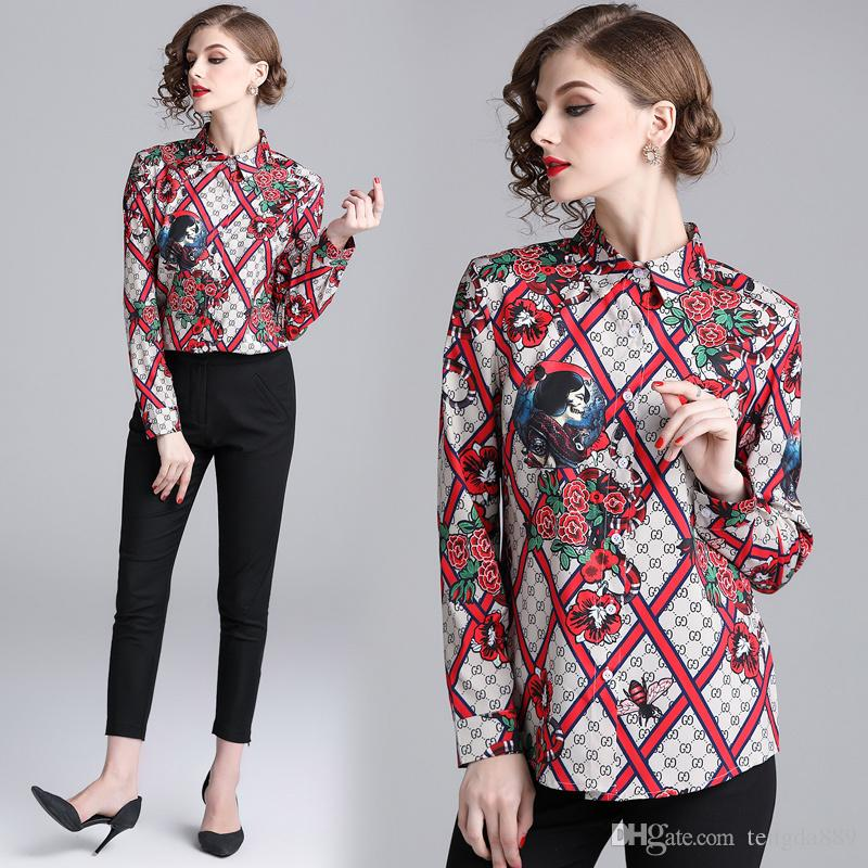 0bfba25d64b296 2019 Spring Fall Runway Vintage Floral Print Collar Casual Office ...