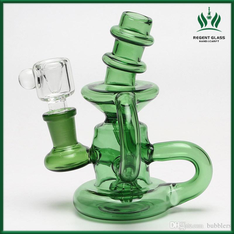 Mini Glass Bongs Double Recycler Water Bong Showerhead Percolator Bong Small Bong Heady Glass Dab Rig With 14mm Bowl Piece Bubbler