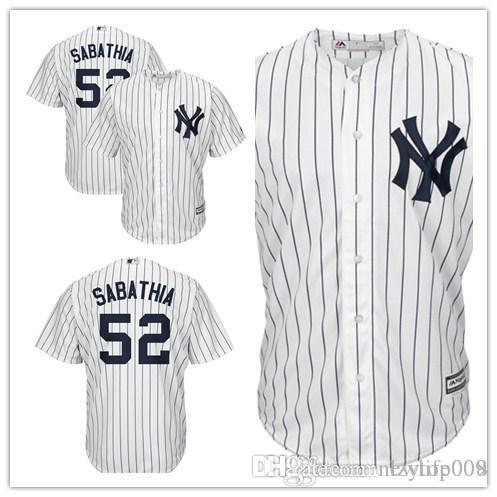 newest f2018 177dc custom 2019 Men s Yankees 52 CC Sabathia New York White Cool Base Home  Player women kids Jersey