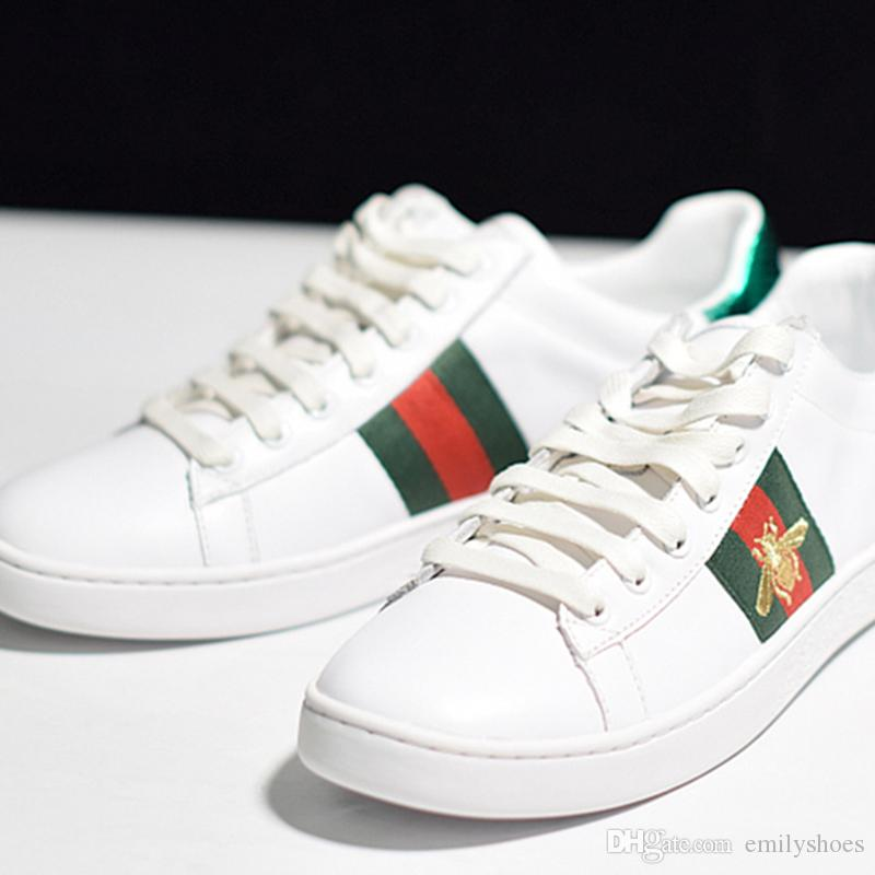 best website e18a0 55f98 2019 Italy Luxury Brand Men S Shoes Tiger Head Embroidery Trainers Shoes  Men Trainers Shoes Green Red Striped Genuine Leather With Box From  Emilyshoes, ...