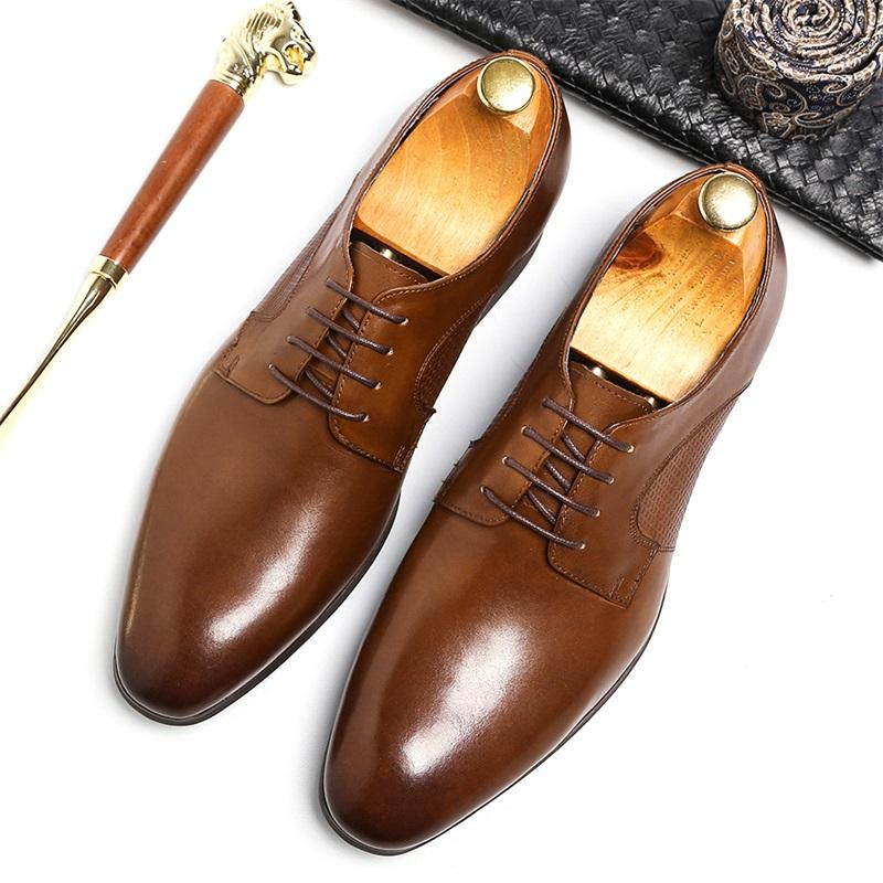 34c345d76c6a Luxury Exquisite Dress Shoes For Men Latest Lace Up Design Natural Leather  Male Formal Derby Shoes Square Heel Man Business Shoe Men Sandals Best Shoes  From ...