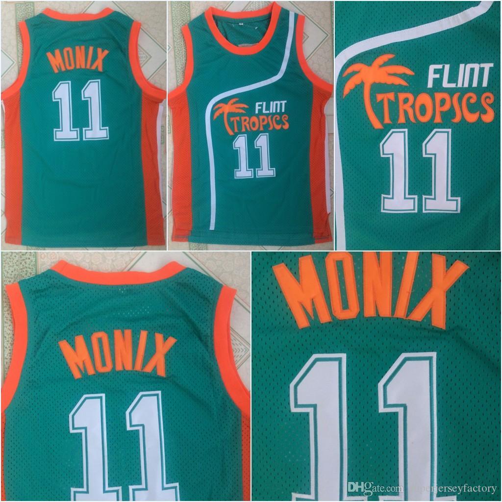 bf6715a895a 2019 Cheap Mens Semi Pro Movie Flint Tropics  11 ED Monix Movie Basketball  Jersey 100% Stitched Green S 3XL Fast Shipping From Superjerseyfactory