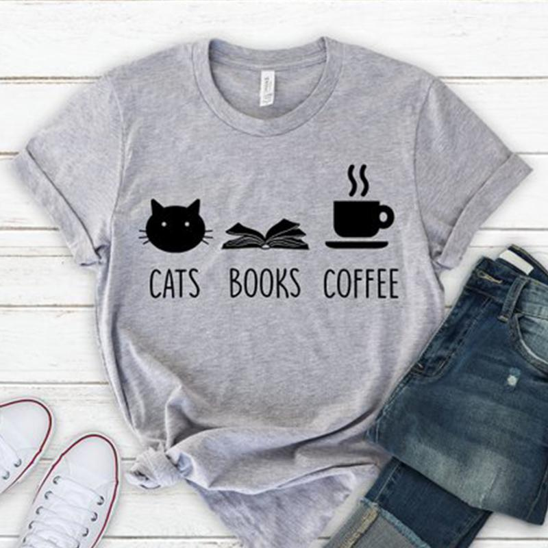 0c404b8a2e98df Cats Books Coffee T Shirt Women Graphic Tees Tumblr Streetwear Cotton T  Shirt Vintage Coffee Tops Cute Cat Shirt Drop Shipping Long Sleeve Tee  Shirts Design ...