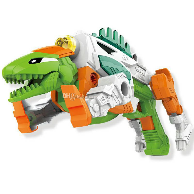 DIY Light Sound dinosaur toys kids gun wholesale block bricks toys gun roaring form Children block toys