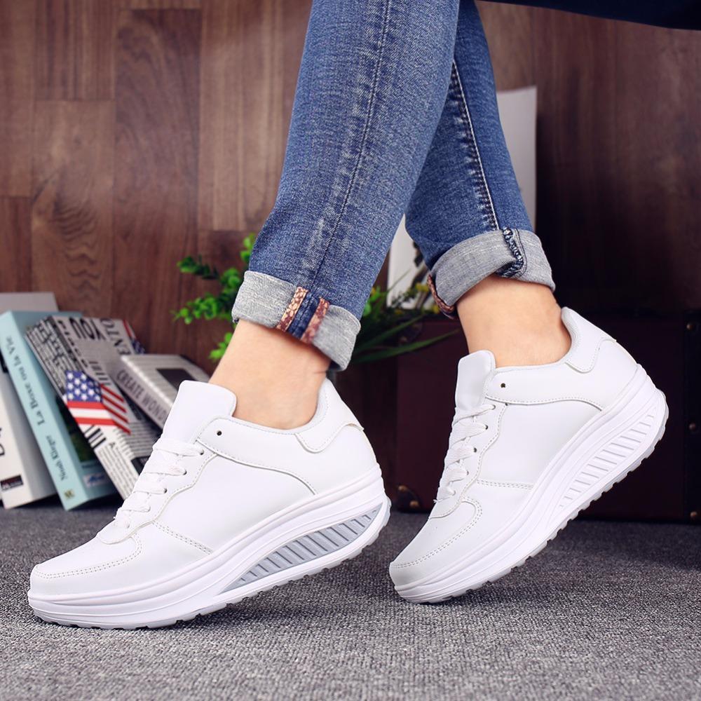 dd305324b97 Compre Zapatillas De Deporte De Mujer Zapatillas De Plataforma Blancas  Cuñas De Verano Zapatos Casuales Canasta Femme Lace Up Zapatillas  Deportivas Mujer A ...