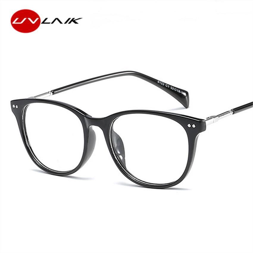 91fc0efb97 UVLAIK Transparent Women Men Glasses Frame Oversized Metal Frames ...
