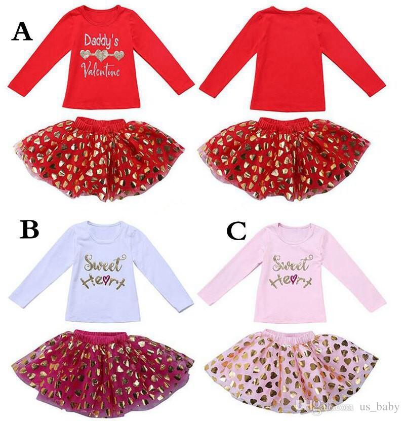0904660fe Valentines Day Girl Outfits Letter Print Long Sleeve Shirt Tops ...