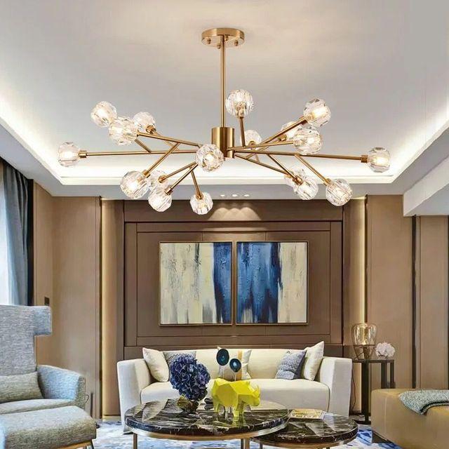 Lámparas de techo de cristal modernas Lámparas de araña de bola de cristal  Iluminación para sala de estar dormitorio comedor lámpara lustres de ...
