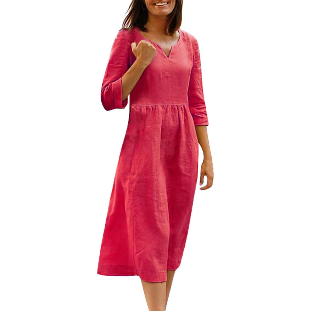 Women Summer Dress Half Sleeves Solid Casual Vacation Dresses Cotton and Linen dresses woman party night beach dress vestidos