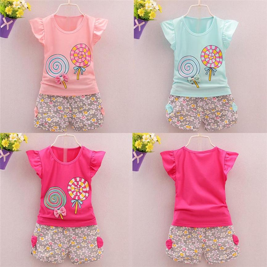 60279394e 2019 Toddler Kids Baby Cute Girls Bowknot Outfits Lolly T Shirt Tops+Short  Pants Clothes Set Clothing Set Dropshipping 922 From Oliveer, $38.37 |  DHgate.Com
