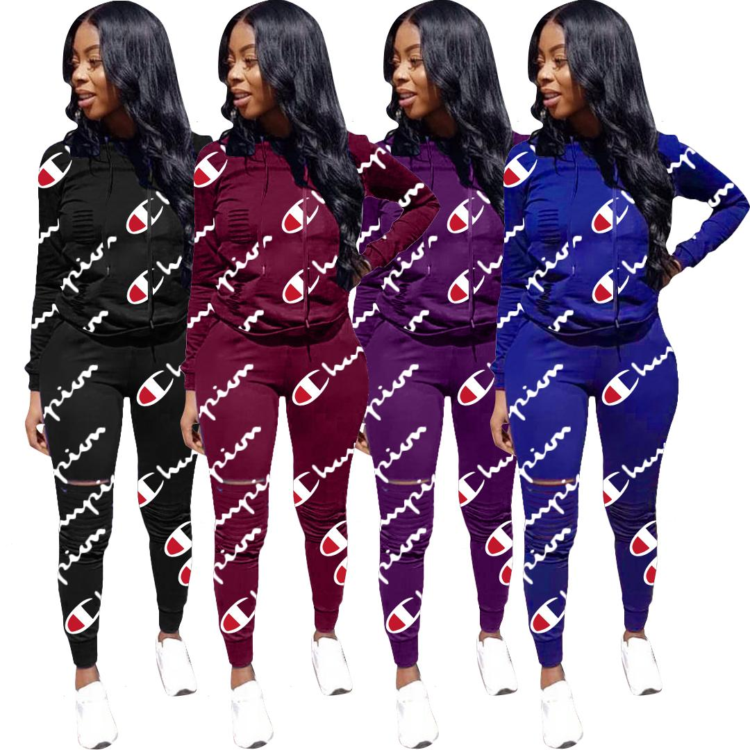 953cc31d93 Women Champion Tracksuit Hoodies Pants 2 Piece Sets Spring Summer Casual  Pullover Trousers Outfits Sportswear Sweatsuit C3255