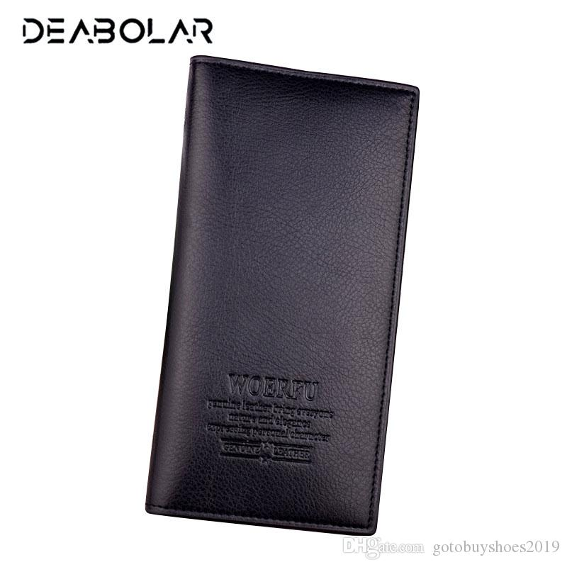 (WOERFU) Fashion Classic Men Soft Long Brand Leather Wallet Purse Clutch with Card Holder for Men's Best Gift Free Shipping #529191