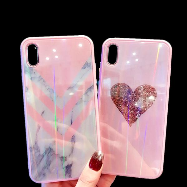 info for c3ee1 80c8d 3D Marble PINK Tempered Glass Holo Glitter Rainbow Case Cover for IPhone X  XS MAX XR 7 6 6s 8 Plus I Phone X Luxury Designer Cases