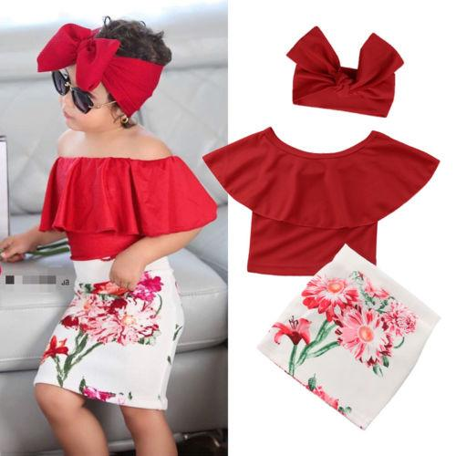 59d033effdbd 2019 Newest Kid Baby Girls Summer Clothes Solid Color Ruffles T Shirt Tops  High Waist Floral Skirt Headband Stylish Outfit Set From Fragranter
