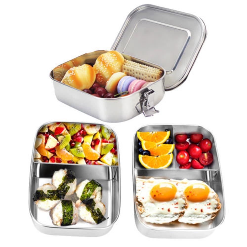 49dd895304 2019 Stainless Steel Lunch Boxs Containers With 1/2/3 Compartments  Microwave Safe Portable Bento Box For Kids Picnic Food Container C18112301  From ...