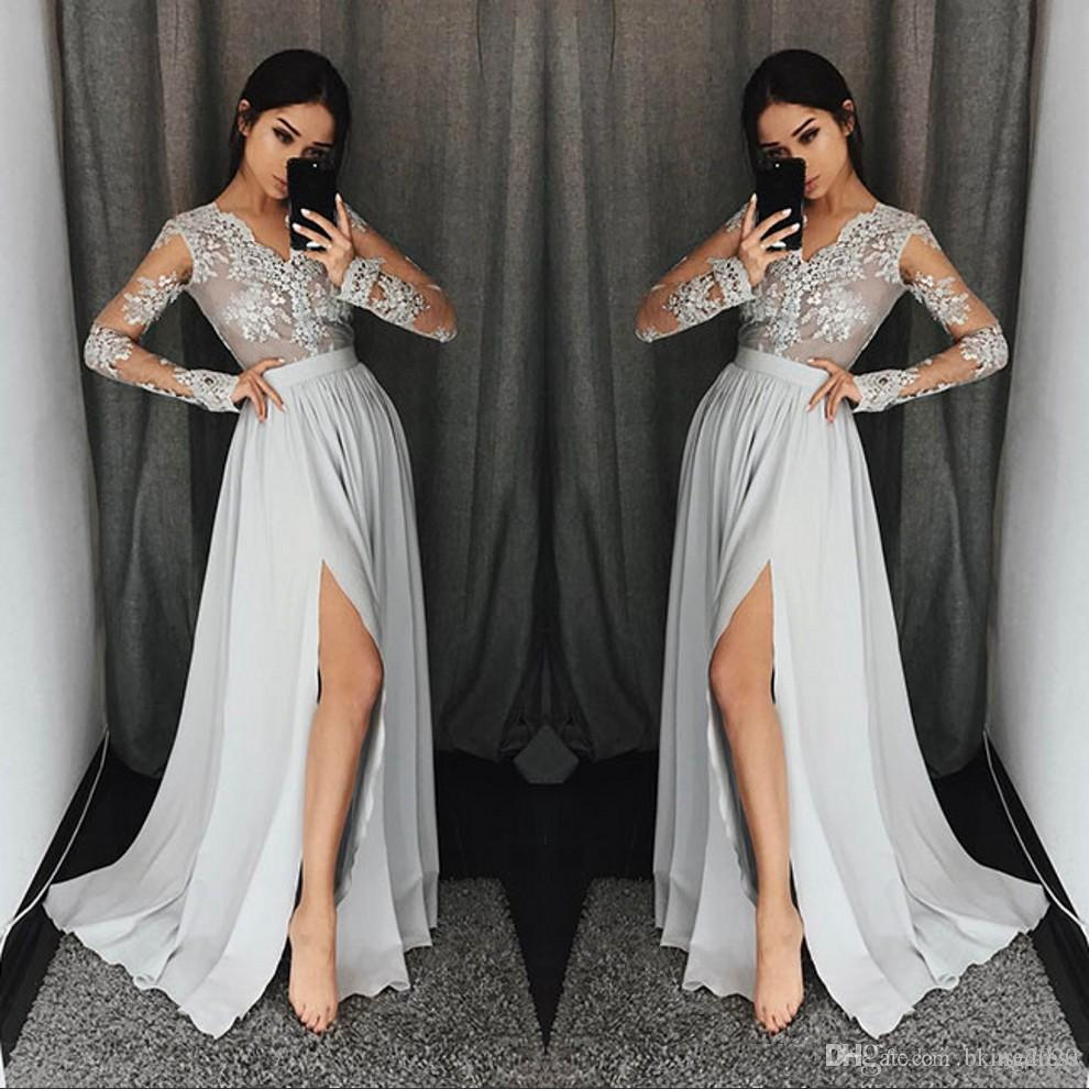 fc1a9790ab34f 2019 Silver Grey Long Sleeve Prom Dresses Long V Neck Appliques Lace Formal  Party Gowns With High Split Modest Evening Dress Robe de soiree