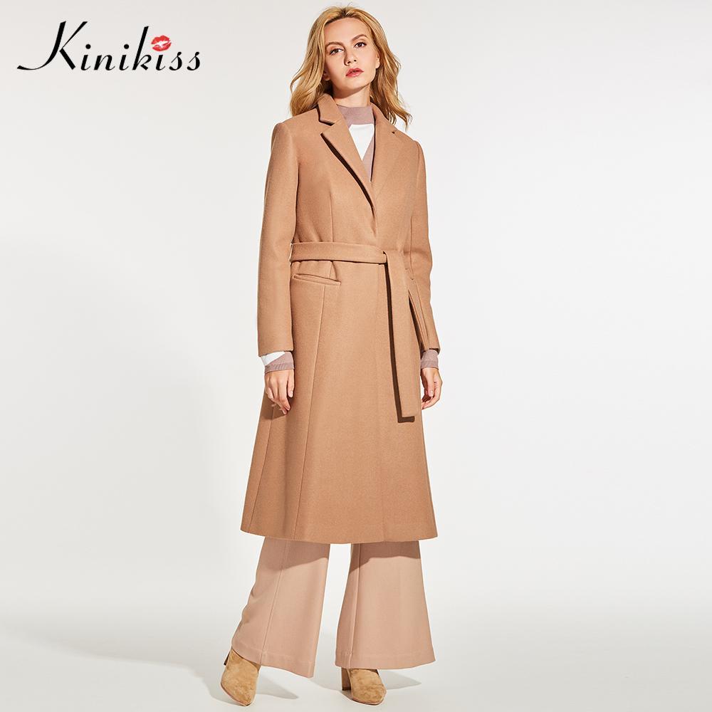 0bcc68c1e07a9 Compre Kinikiss Mujer Camel Elegante Abrigo Moda De Invierno Malla Cinturón  De Solapa De Lana Mezclas Abrigos Prendas De Vestir Exteriores Dama De  Oficina ...