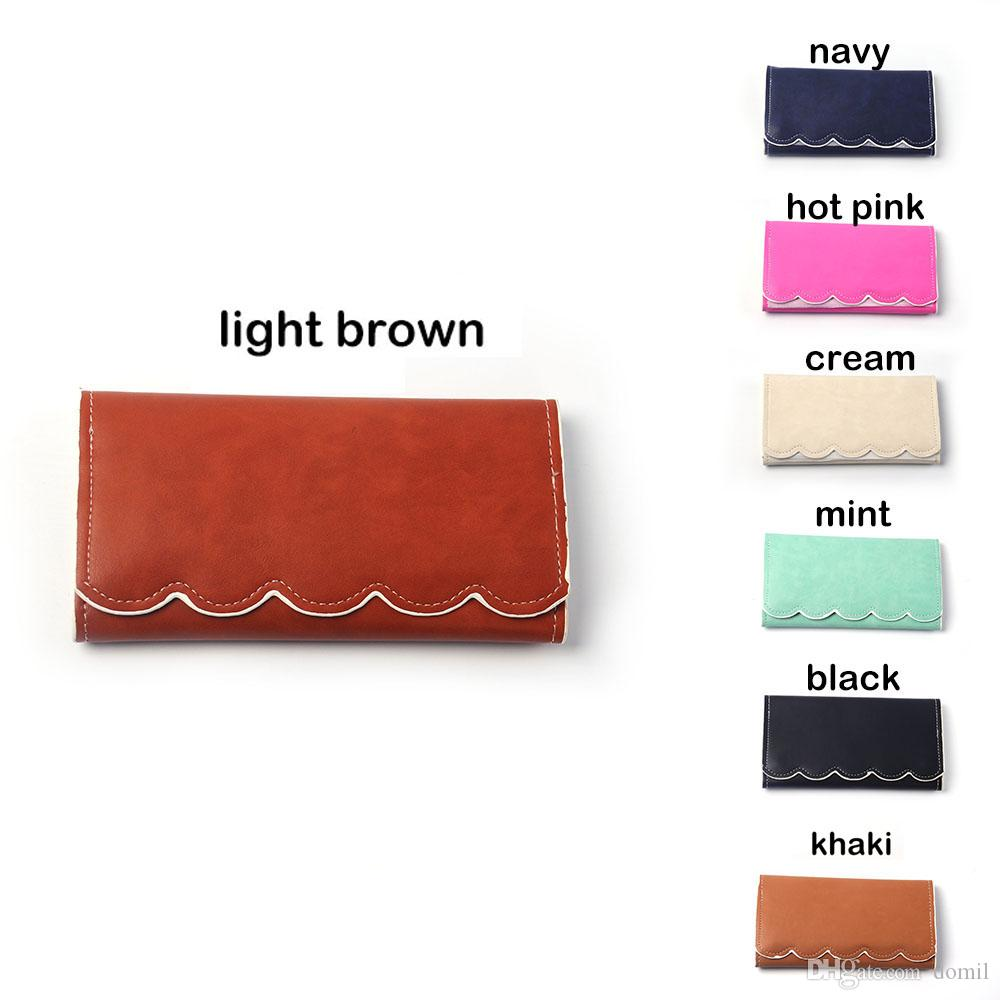 Scalloped Designer Wallet Women PU Clutch Purse Envelope Pounch Handbag with Scalloped Edges RTS Long Wallet DOM106389