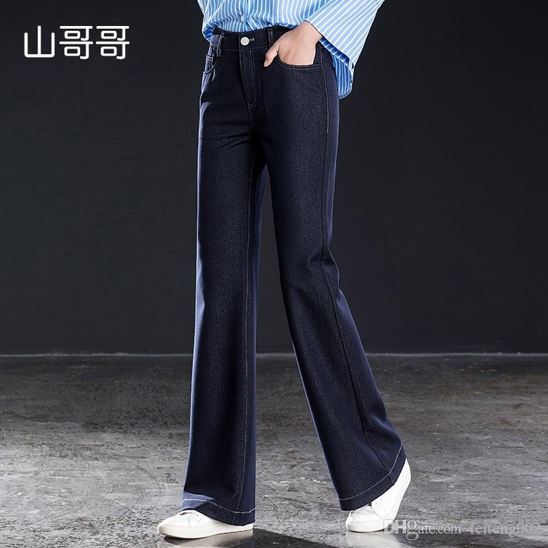 1a19f8a217498c 2019 Women Jeans Full Length Elasticity High Loose Flare Pants Office Lady  Sping Autumn Dark Blue 2019 With Pocket Zippersplus Size #590258 From  Feiteng002, ...