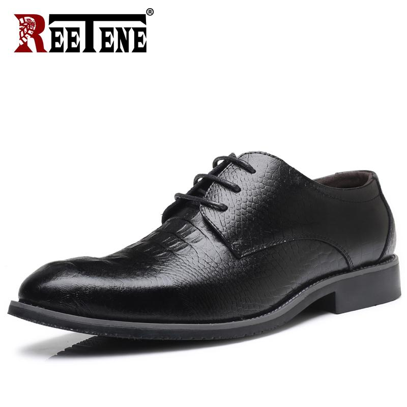9294d912b16 REETENE 2018 NEW Leather Crocodile Men Shoes High Quality Leather Men Dress  Shoes Genuine Leather Oxford Shoes For Men Online with  54.09 Pair on  Ycqz s ...