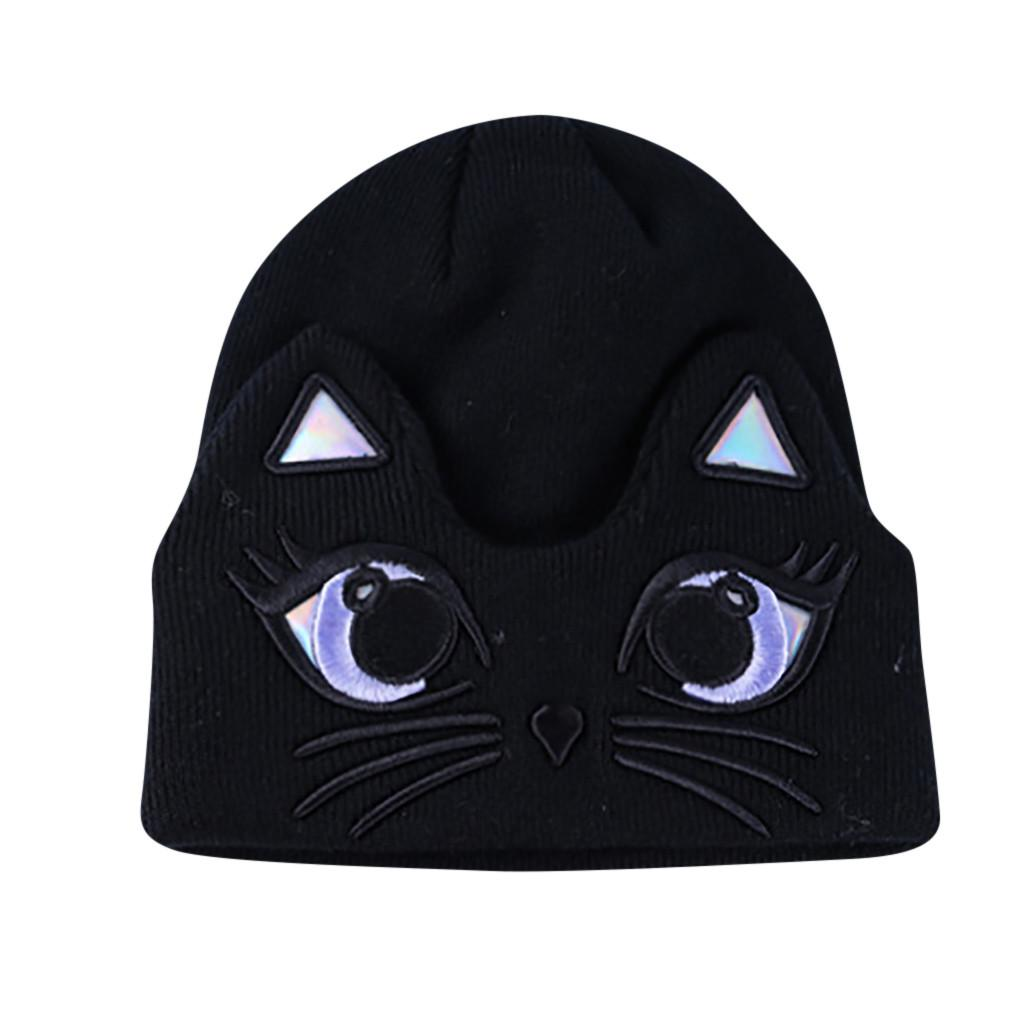 9c9a04a0c19 Women Ladies Winter Warm Cartoon Cat Embroidery Knitted Sleeve Hat Plus  Velvet Wool Cap Black