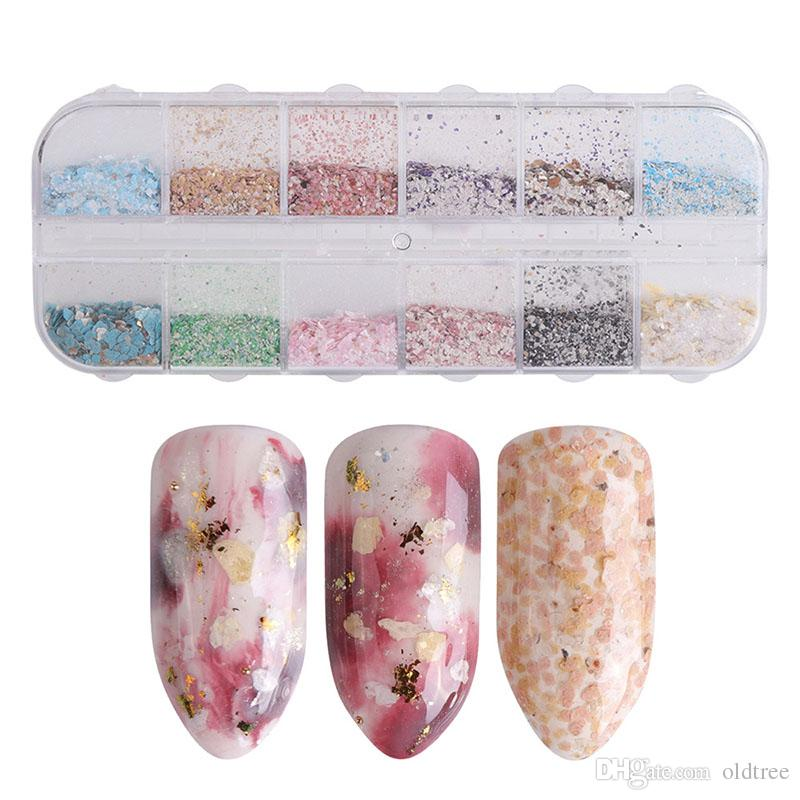 12 Grids Mixed Nail Glitter Irregularity Marble Sequin Powder for UV Gel Flakes Manicure Tips Nail Art Pigmen
