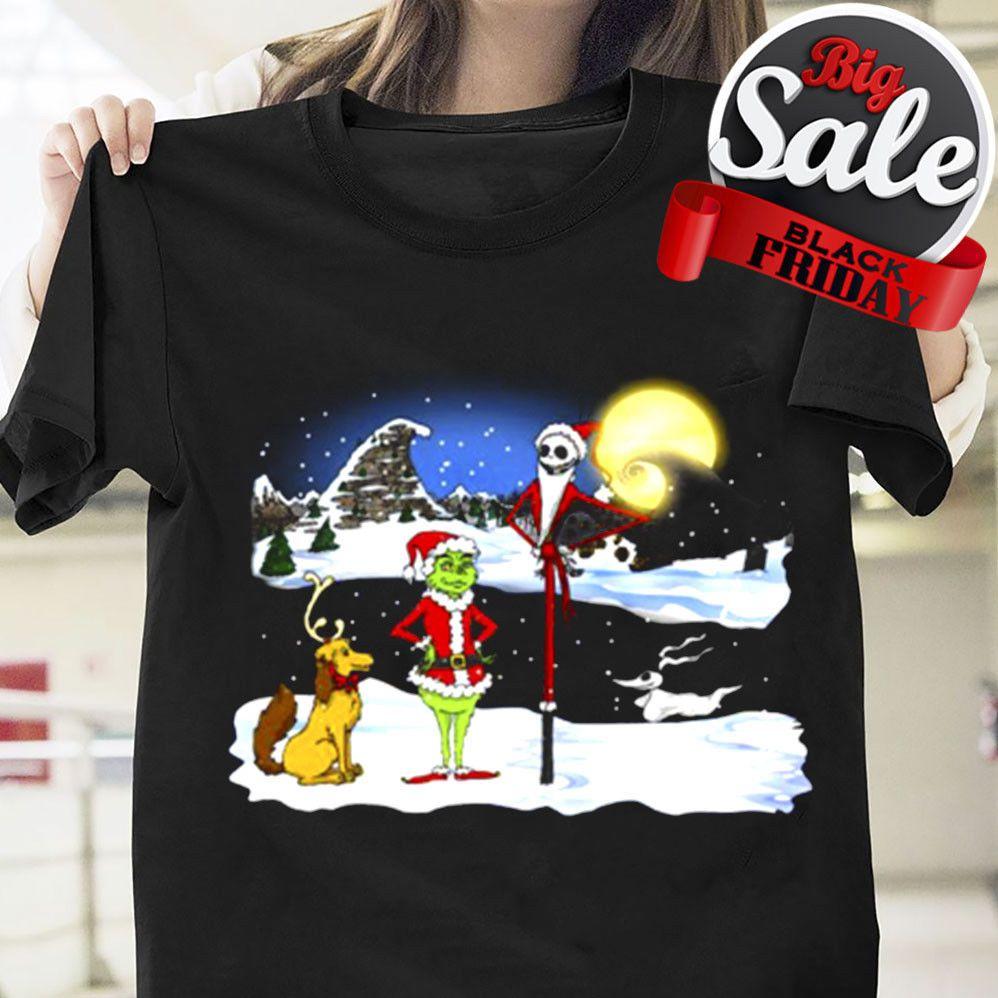 Grinch Max Jack Skellington Merry Christmas Gift T Shirt Black