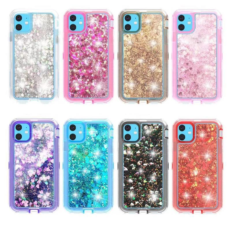 NEW Bling Bling Liquid Glitter Case for iPhone 11 Cell Phone Anti-drop Soft Clear TPU Case