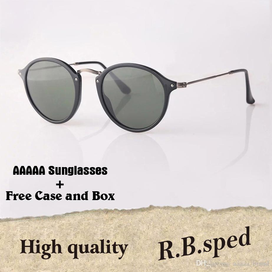 252d6285c3e9 Wholesale Brand Designer Classic Round Sunglasses Men Women Vintage Retro  Sun Glasses Driving Eyewear Glass Lenses With Free Cases And Box Polarised  ...
