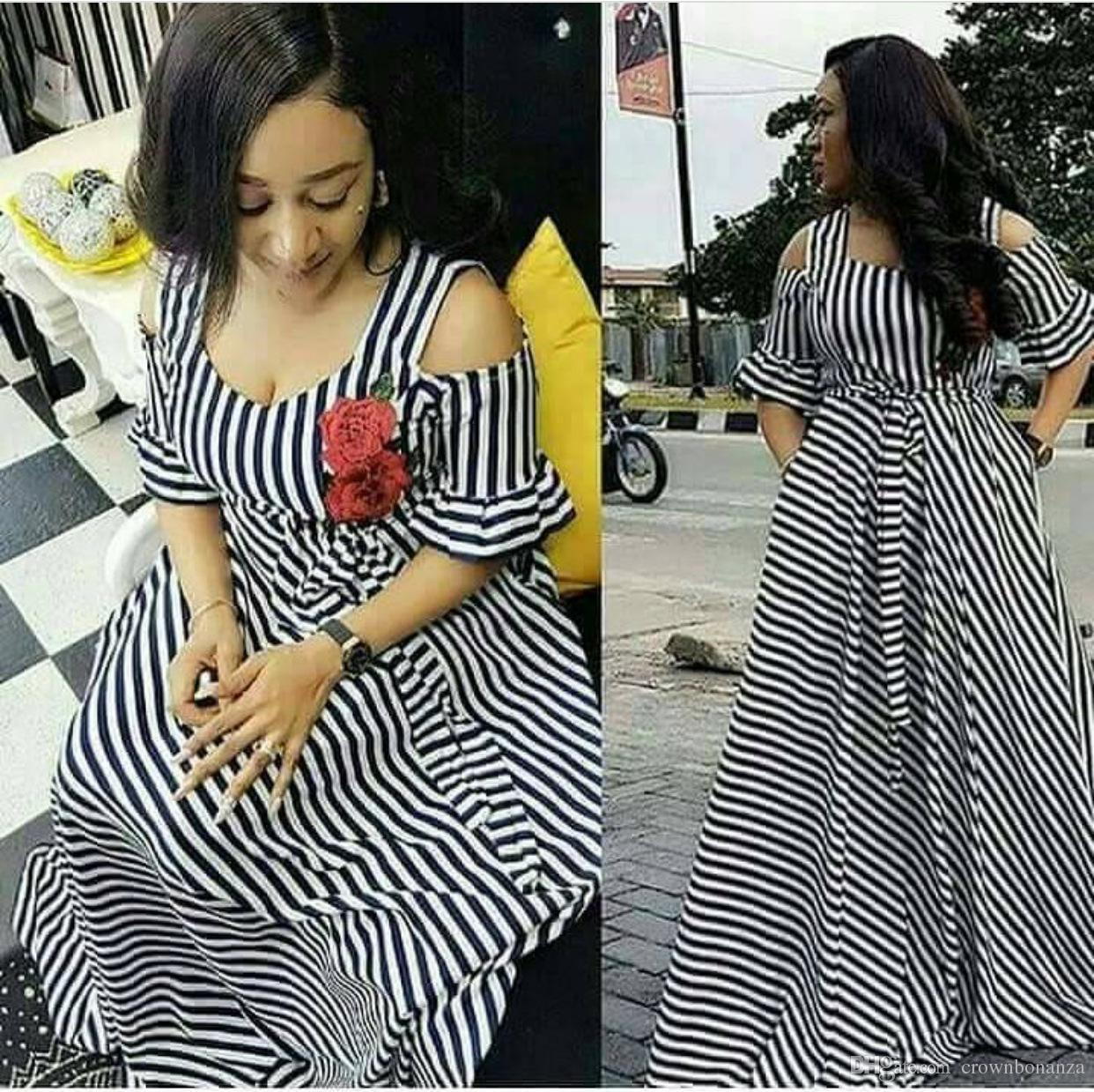 6e0286973b5f African Dresses for Women Dashiki Dresses Bazin Riche Traditional African  Clothing Short Sleeve Off Shoulder Sexy Stripe Maxi Dress Online with   31.14 Piece ...