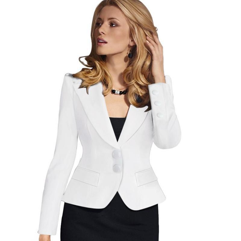 96a1b897d Compre 2 Botones Para Mujer Blazer Mujer Ropa De Trabajo Traje Chaqueta  Mujer Oficina Dama Formal Mujer Blazers Y Chaquetas Mujer Blazer Femme A   61.46 Del ...