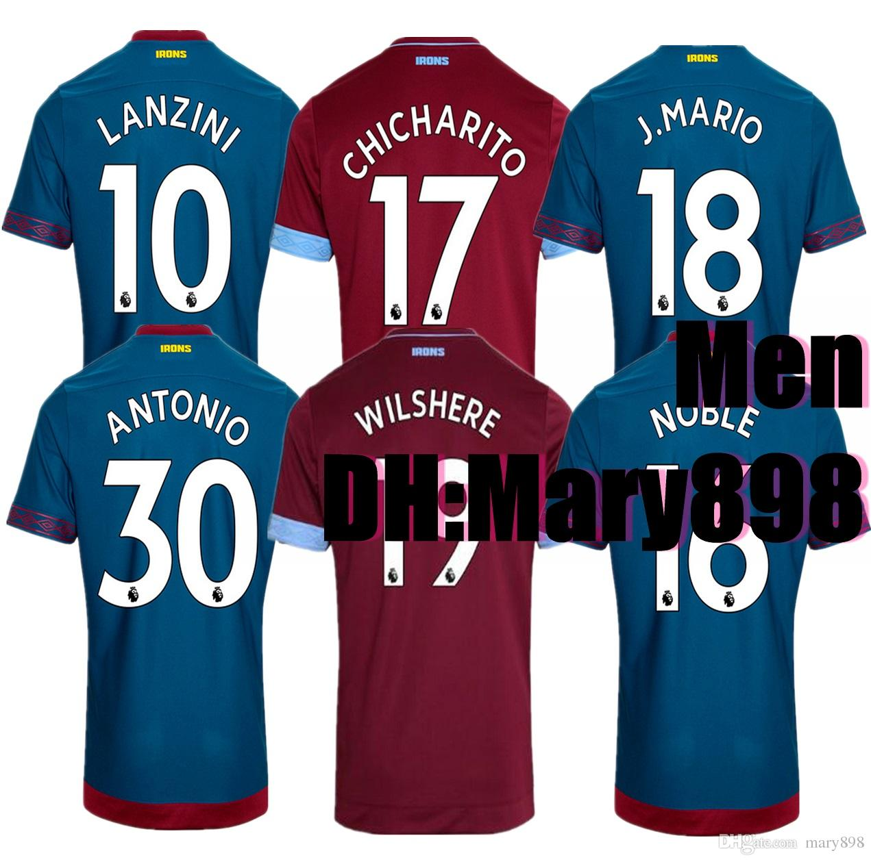 2019 WestHam United Home Soccer Jersey 2018 19 West Ham United Soccer Shirt  18 19  17 CHICHARITO West Ham United Football Uniform Jeresys From Mary898 a2bb9df2a