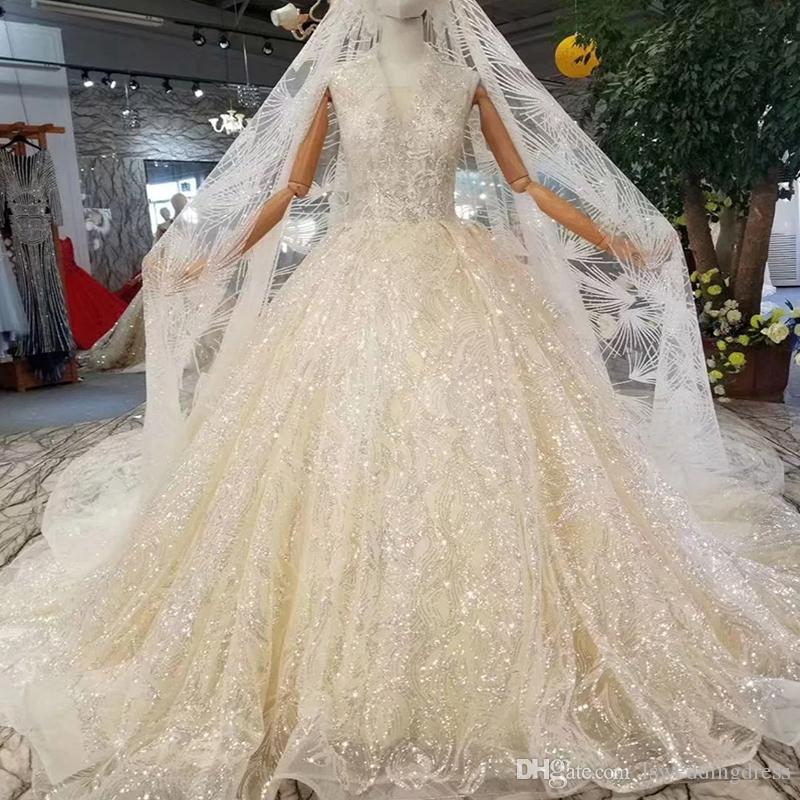 fb3587c4ff90 Tank Style Wedding Gown With Wedding Veil Deep V Neck Sleeveless Sparkly  Wedding Dress Champagne With
