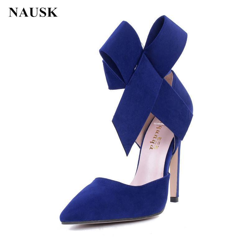 0ca8e6abd58e5 Designer Dress Shoes NAUSK Women Big Bow Tie Pumps Butterfly Pointed  Stiletto Woman High Heels Plus Size Wedding Bowknot Advisable Bass Shoes  Skechers Shoes ...