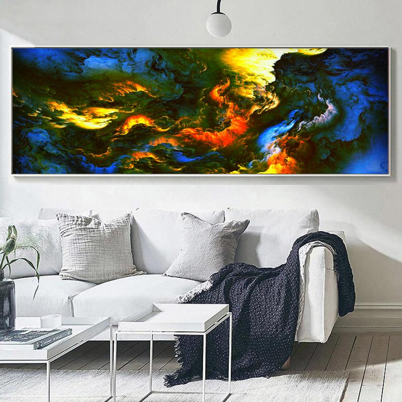 Colorful Rooms With A View: Large Canvas Wall Art Abstract Oil Painting Stormy