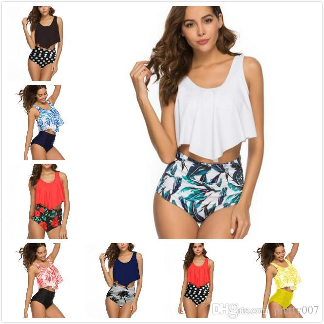 6658884ea87382 2019 Sports Swimwear Flounce High Waist Priniting Triangle Tummy Control  Swimsuits Swimming Suits Bathing Suits From Pretty007, $12.97 | DHgate.Com