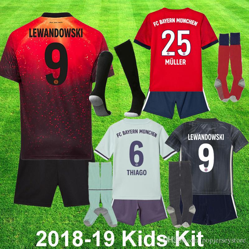 info for 760cf ae663 2018 2019 Bayern Munich EA Sports Kids Kit Soccer Jerseys MULLER HUMMELS  VIDAL LEWANDOWSKI ROBBEN TOLISSO JAMES 18 19 youth Football uniform