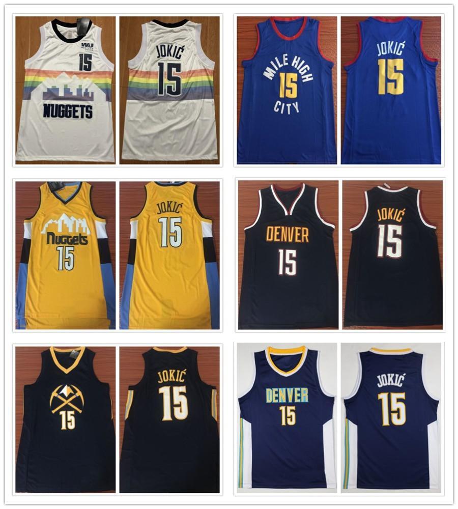 8fb195bfd 2019 Stitched 15 Nikola Jokic Jerseys New City White 27 Jamal Murray Jersey  Rainbow Navy Blue Breathable Sportswear Shirts From Xiaolin fans mall