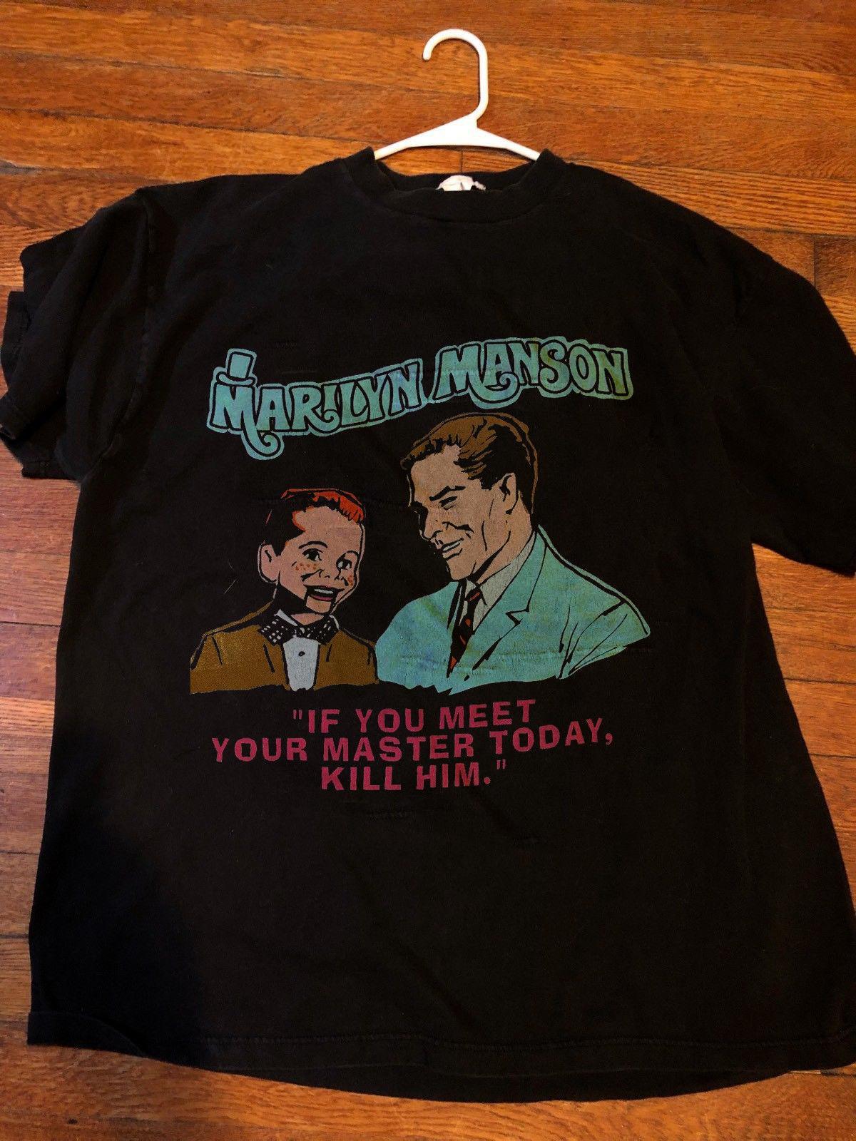 c97fb9f53ace Marilyn Manson Vintage 1995 Shirt Meet Your Master Reprint 2018 New Men Tee  2018 Fashion T Shirts Summer Short Sleeves Sports T Shirts Men T Shirts  From ...