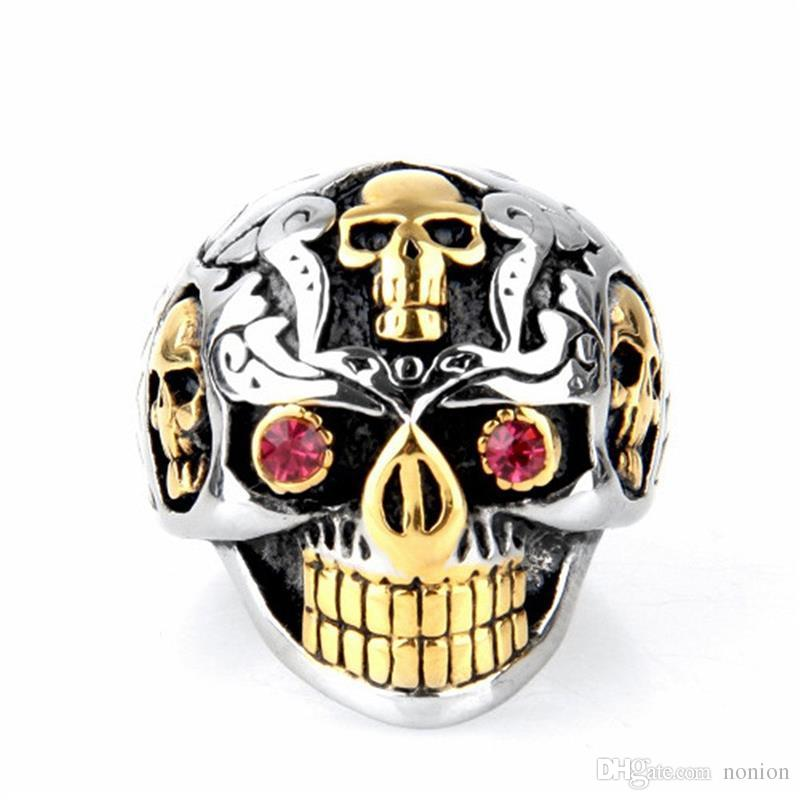 OBSEDE Punk Gold Color 316L Stainless Steel Skull Ring Men Jewelry Gothic Red Crystal Eyes Finger Ring for Party Male Biker