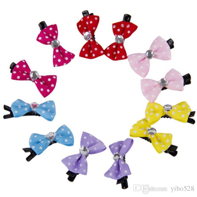2019 Pet Hair Clips Polka Dots Patterns Bowknot Pet Dog Grooming Headdress dog hair bows Pet Supplies Accessories