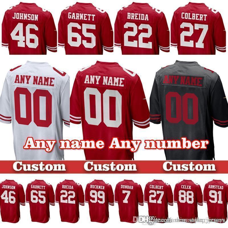 outlet store d5038 29fc2 San Francisco 85 George Kittle custom 49er Jerseys 74 Joe Staley 32 Ricky  Watters 42 Ronnie Lott 87 Dwight Clark jersey Marquise Goodwin