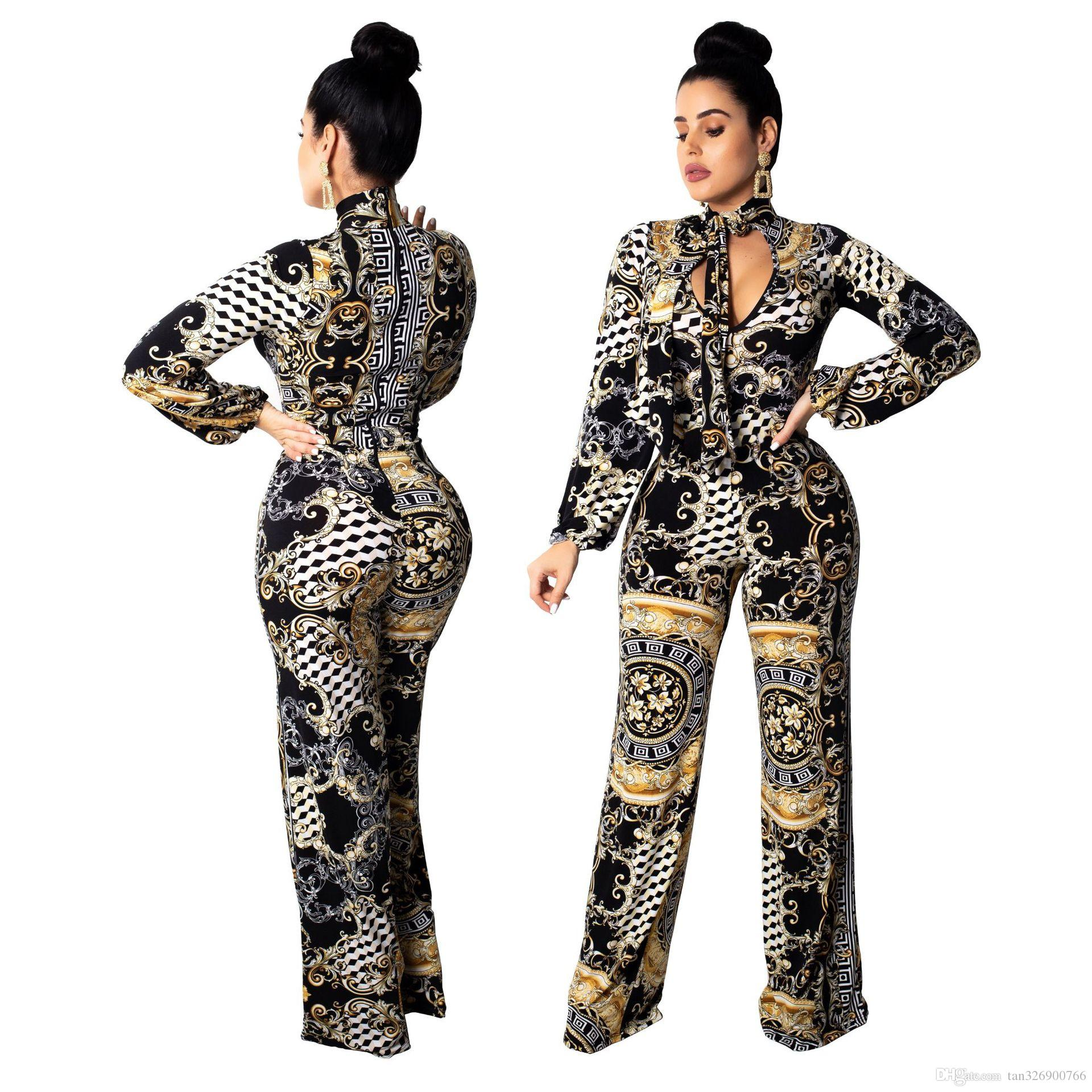 0e7740e2742 2018 winter models Amazon standard code Europe and the United States hot  fashion digital printing women s jumpsuit