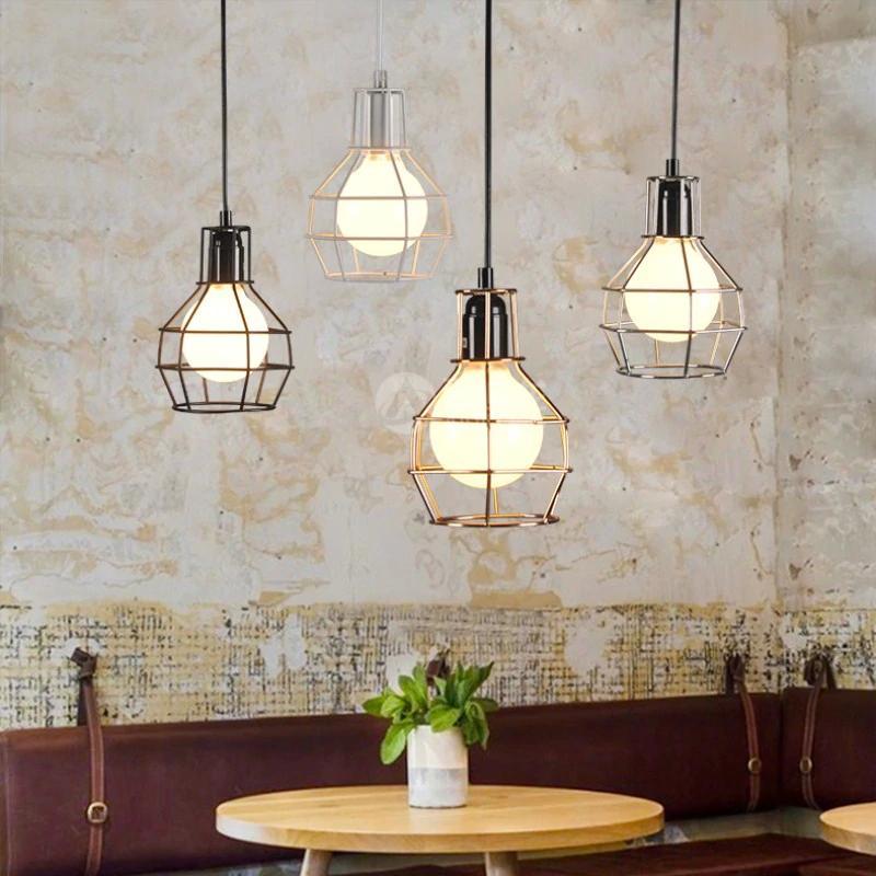 Luces colgantes de la vendimia Jaula Diseño industrial negro Lámpara  colgante para salón comedor luminaria cocina luminaria